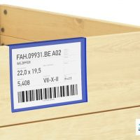 Dokumentenhalter blau zum Einhaengen ueber Holzaufsatzrahmen
