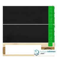 Aufsatzrahmen in schwarz, mit grünen Scharnieren