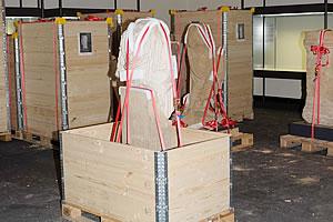 Holzaufsatzrahmen als Verpackung fuer Museen